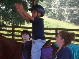 PLaying Catch on the Horse... Balance & Core Strength